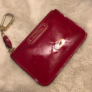 Louis Vuitton Red Vernis Key Cles Wallet